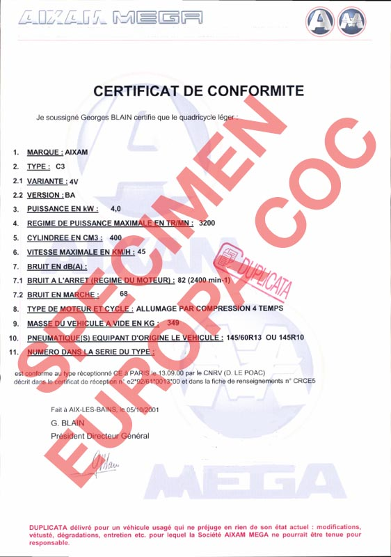 certificat de conformit europ en aixam coc commandez votre certificat de conformit c o c. Black Bedroom Furniture Sets. Home Design Ideas