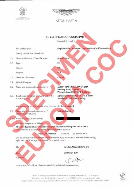 certificat de conformit europ en aston martin coc commandez votre certificat de conformit c. Black Bedroom Furniture Sets. Home Design Ideas