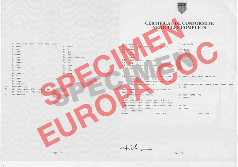 certificat de conformit europ en dacia coc commandez votre certificat de conformit c o c. Black Bedroom Furniture Sets. Home Design Ideas