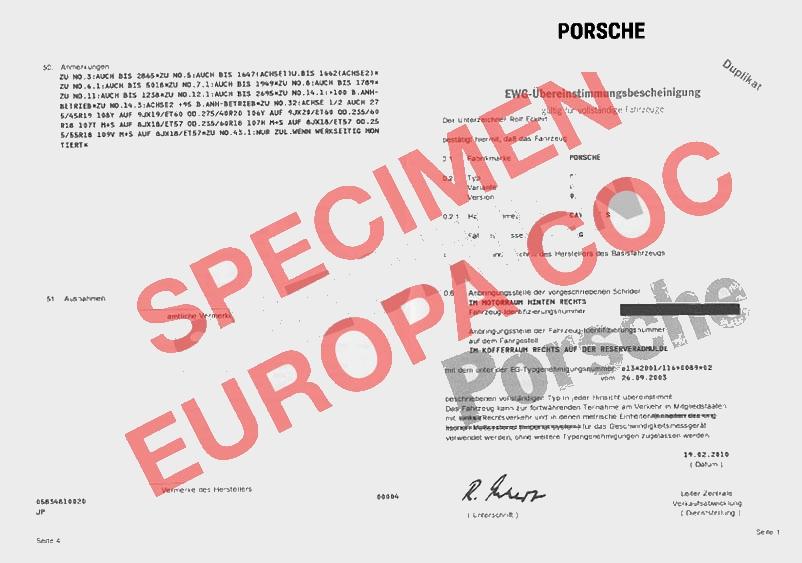 certificat de conformit europ en porsche coc commandez votre certificat de conformit c o c. Black Bedroom Furniture Sets. Home Design Ideas